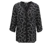 Regular-Fit Bluse aus reiner Seide mit Ginkgo-Print