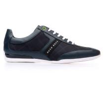 Sneakers aus Material-Mix mit Leder-Details