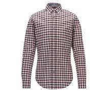 Kariertes Slim-Fit Hemd aus elastischer Oxford-Baumwolle