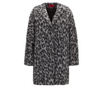 Oversize-Fit Mantel aus Material-Mix mit zweifarbigem Geparden-Print