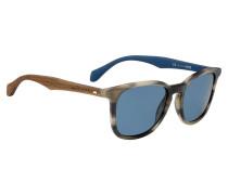 Sonnenbrille mit gemusterter Vollrandfassung und Holzbügeln
