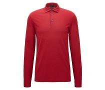 Regular-Fit Longsleeve Poloshirt aus merzerisierter Baumwolle