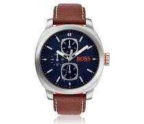 Uhr aus Edelstahl mit strukturiertem Zifferblatt und Lederarmband