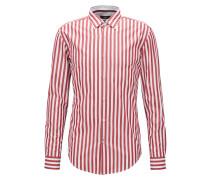 Breit gestreiftes Slim-Fit-Hemd aus gewaschener Baumwolle