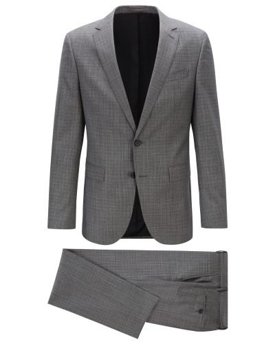 Slim-Fit Anzug aus gemustertem Schurwoll-Serge