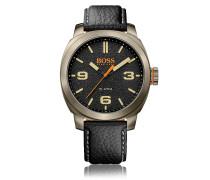 Quarz-Armbanduhr mit Drei-Zweiger-Werk und Lederarmband