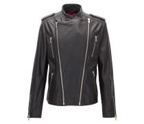 Slim-Fit Bikerjacke aus genarbtem Leder mit doppeltem Reißverschluss