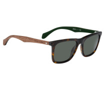 Sonnenbrille mit Holzbügeln und Havanna-Muster
