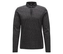 Slim-Fit Langarm-Poloshirt aus merzerisiertem Baumwoll-Jacquard