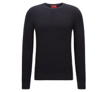 Slim-Fit-Pullover aus strukturierter Baumwolle mit Rundhalsausschnitt