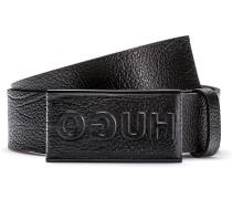 Genarbter Ledergürtel mit lederbezogener Koppelschließe und Logo-Prägung