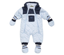 Baby-Overall aus Material-Mix mit Kapuze
