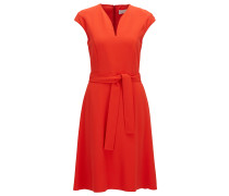 Regular-Fit Kleid aus Material-Mix mit V-Ausschnitt