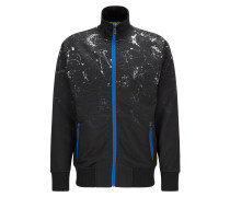 Regular-Fit Jacke aus Material-Mix mit Reißverschluss