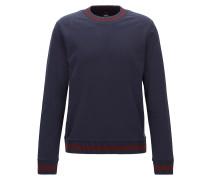 Slim-Fit Sweatshirt aus French Terry mit zweifarbigen Strick-Details