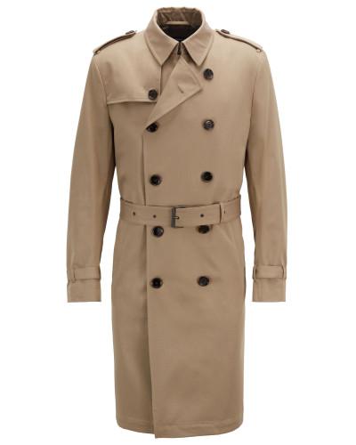 Zweireihiger Trenchcoat aus wasserabweisendem Baumwoll-Twill