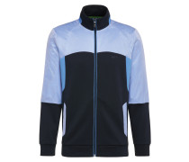 Regular-Fit Sweatshirt-Jacke aus Baumwolle mit Kontrast-Besatz