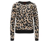 Pullover aus Schurwolle mit Geparden-Muster