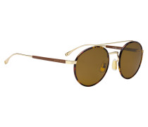 Panto-Sonnenbrille aus Acetat und Metall mit Lederbezug