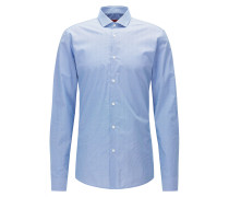 Fein gemustertes Slim-Fit Hemd aus Baumwoll-Popeline