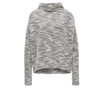 Relaxed-Fit Grobstrick-Pullover aus Material-Mix mit Stehkragen
