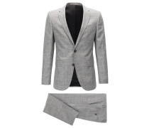 Melierter Slim-Fit Anzug aus mittelschwerem Material-Mix