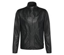 Slim-Fit Biker-Jacke aus Leder und strukturiertem Gewebe