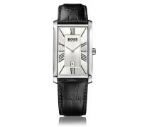 Zwei-Zeiger-Uhr mit Lederarmband und Datumsanzeige