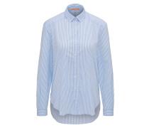 Gestreifte Relaxed-Fit Bluse aus elastischem Baumwoll-Mix