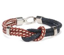 Armband aus zweifarbigem Leder im Knoten-Design