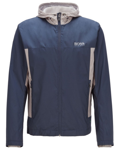 Lightweight water-repellent hooded jacket in ripstop fabric