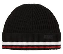 Gerippte Mütze aus Merinowolle mit Streifen-Detail