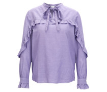 Gerüschte Regular-Fit Bluse aus Seiden-Mix