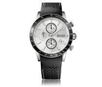 Sportive Uhr aus Edelstahl mit perforiertem Lederarmband