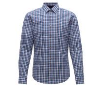 Slim-Fit-Hemd aus Baumwolle mit Denim-Karo