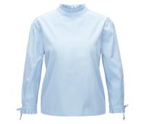 Regular-Fit Bluse aus Baumwolle mit Plissee an Kragen und Manschetten