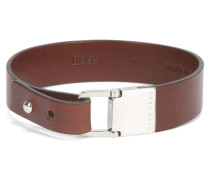 Armband aus Leder mit gebürstetem Metall-Verschluss