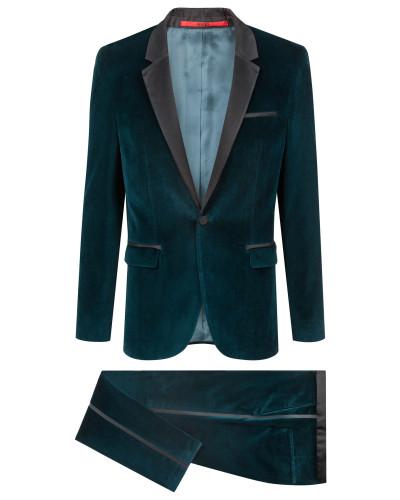 Extra Slim-Fit Anzug aus Samt mit Seiden-Details