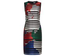Gemustertes Kleid aus Material-Mix mit Seide