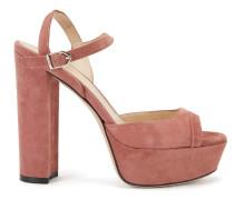 Sandalen aus Veloursleder mit Plateausohle und Fesselriemen