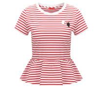 Slim-Fit T-Shirt aus elastischer Baumwolle mit Schößchen
