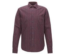 Kariertes Slim-Fit Hemd aus Baumwolle mit Fil-coupé-Struktur