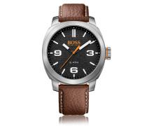 Quarz-Armbanduhr mit Drei-Zeiger-Werk und Lederarmband