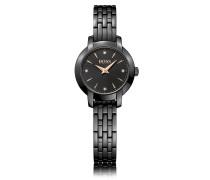 Uhr aus poliertem Edelstahl mit Sonnenstrahlen-Effekt auf dem Zifferblatt und Gliederarmband