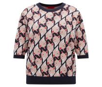 Regular-Fit Pullover aus Material-Mix mit Baumwolle und Seide