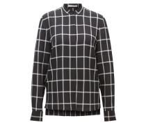 Karierte Regular-Fit-Bluse aus reiner Seide