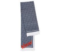 Schal aus Baumwoll-Mix mit Logo-Print und Fransen