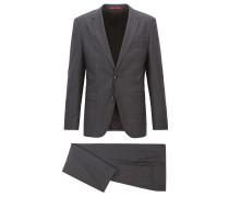 Karierter Regular-Fit Anzug aus Stretch-Schurwolle mit Mouliné-Garnen