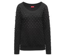 Pullover aus Baumwoll-Mix mit Schurwolle und Kaschmir mit Perlen-Besatz und Stretch-Ausschnitt