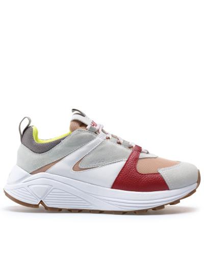 Sneakers aus Veloursleder, Leder und Mesh